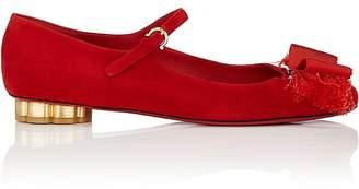 Salvatore Ferragamo Women's Flower-Heel Suede Ankle-Strap Flats