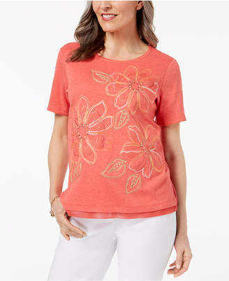 Alfred Dunner Parrot Cay Mixed-Media Embellished Top