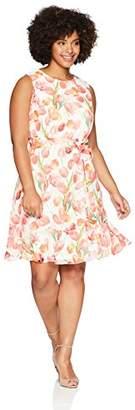Jessica Howard Women's Plus Size Sleeveless Fit and Flare Dress with Tie Sash