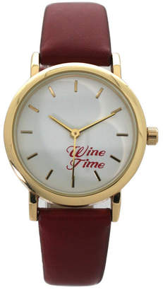 Wine Time Leather Strap Watch
