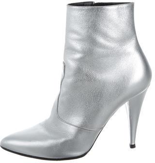 Saint LaurentSaint Laurent Metallic Pointed-Toe Ankle Boots