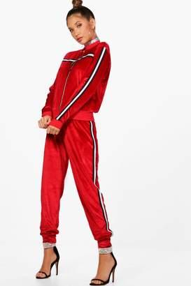 boohoo Athleisure Sports Trim Zip Through Velour Set