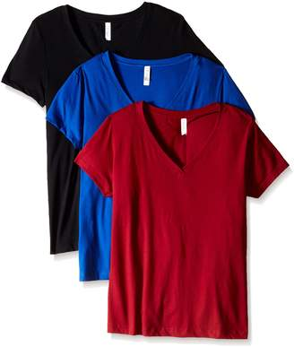 Clementine Apparel Women's Petite Plus Ideal V Neck Tee (Pack of 3)
