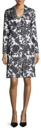 Albert Nipon Sleeveless Floral Jacquard Dress w/ Jacket, Black/Creme $425 thestylecure.com