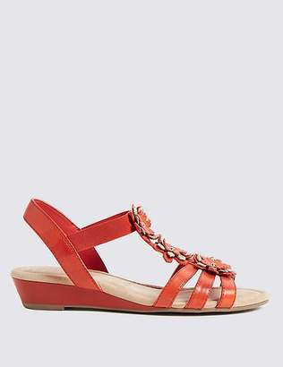 Marks and Spencer Wide Fit Leather Flower Sandals