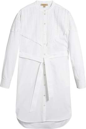 Burberry pintuck detail stretch cotton shirt dress