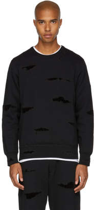 Alexander McQueen Black Shredded Crewneck Sweatshirt