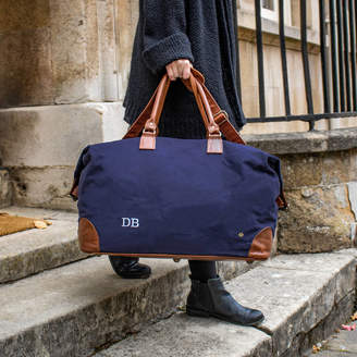 474941ce9861c5 MAHI Leather Personalised Travel Bag In Navy Canvas And Leather