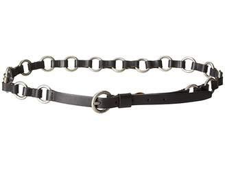 Frye 13mm Leather and Metal Ring Belt on Logo Harness Buckle Women's Belts