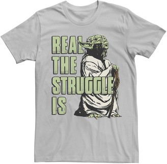 """Star Wars Licensed Character Men's Yoda """"Real The Struggle Is"""" Tee"""