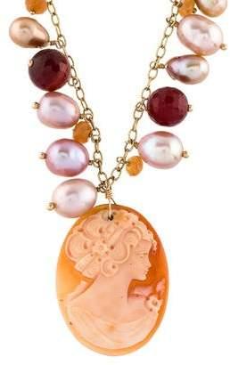 14K Pearl & Shell Cameo Multistone Pendant Necklace