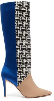 Matty Bovan - X Gina Knee High Tweed And Satin Boots - Womens - Blue Multi