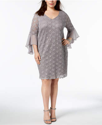 Connected Plus Size Sequined Lace Bell-Sleeve Dress