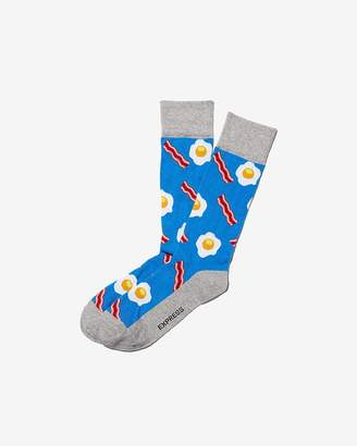 Express Bacon And Eggs Print Dress Socks