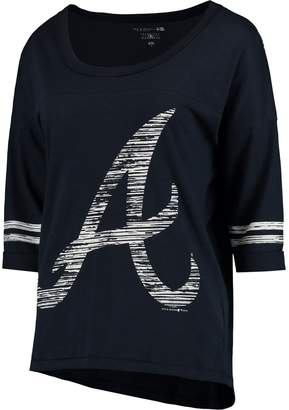 New Era Women's 5th & Ocean by Heathered Navy Atlanta Braves MLB Slub 3/4 Sleeve Scoop With Hi Lo Hem T-Shirt