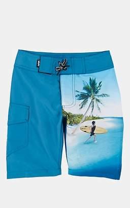 Trunks Molo Kids Kids' Nalvaro Surfer-&-Beach-Print Swim Blue