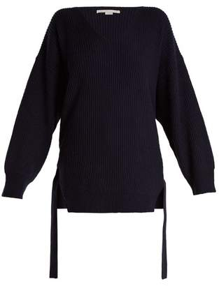 Stella McCartney Curved V Neck Ribbed Knit Cashmere Blend Sweater - Womens - Navy