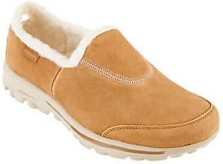 Skechers GOwalk Suede Faux Fur Shoes w/ MemoryForm Fit- Comfy