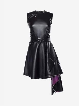 Alexander McQueen Leather Peplum Mini Dress