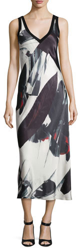 DKNY DKNY Sleeveless Printed V-Neck Midi Dress, Black/White