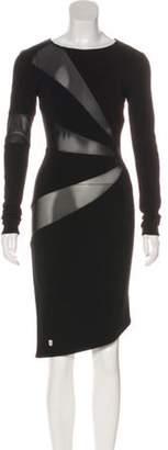 Philipp Plein Mesh-Trimmed Knee-Length Dress Black Mesh-Trimmed Knee-Length Dress