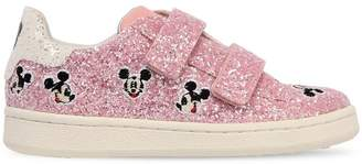 Mickey Glittered Leather Strap Sneakers