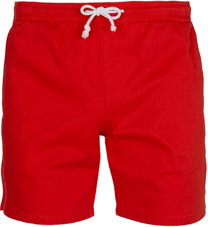 Topman Red Shorts with Drawcord