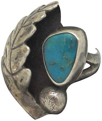 One Kings Lane Vintage Leaf & Turquoise Native American Ring - Thanks for the Memories