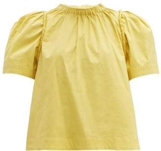 Sea Luna Puff Sleeve Cotton Poplin Blouse - Womens - Yellow