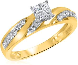 My Trio Rings 1/2 CT. T.W. Diamond Ladies Engagement Ring 14K Yellow Gold- Size 5.75