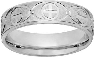 Sterling Silver Textured Cross Wedding Band - Men