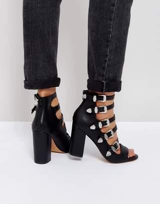 Asos DESIGN PISTON Multi Strap Western Heeled Sandals