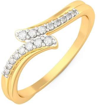 PEACOCK JEWELS Certified 18K Gold (HallMarked), 0.13 cttw White Diamond (IJ | SI ) Diamond Engagement Wedding Ring Size - 10.5