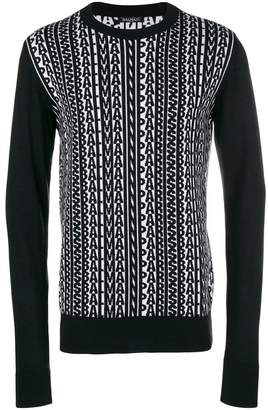 Balmain logogram knit sweater