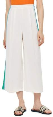 Topshop Side Stripe Wide Leg Crop Trousers