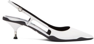 Prada Rubber Sole Slingback Leather Pumps - Womens - White