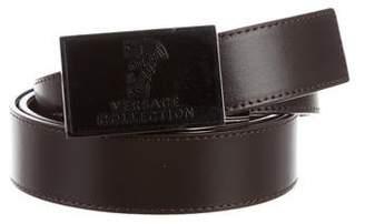 Versace Logo Buckle Leather Belt w/ Tags