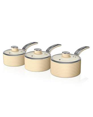 Swan Retro Ceramic Saucepan Set 3 Cream