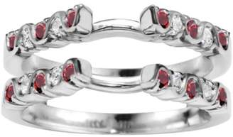 TwoBirch Genuine Ruby Mounted In Sterling Silver Twirl Style Ring Guard (0.5ctw)