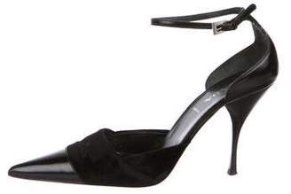 Prada Pointed-Toe Ankle Strap Pumps