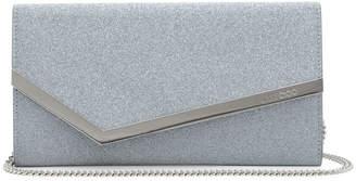 Jimmy Choo Emmie Silver Glitter Leather Clutch