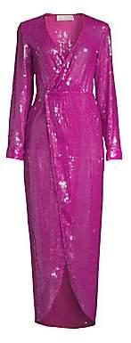 Fleur Du Mal Women's Long Sequin Wrap Dress