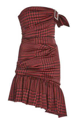 Alexandre Vauthier Strapless Asymmetric Houndstooth Silk-Satin Midi Dress