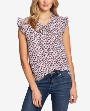 CeCe Marrakesh Ruffled Tie-Neck Top