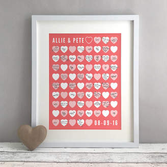 Bird & Key Hearts Personalised Wedding Guest Book Print