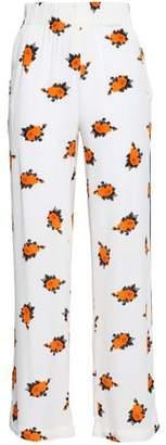 Ganni Roseburg Floral-print Crepe De Chine Straight-leg Pants