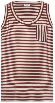 Brunello Cucinelli Bead-Embellished Striped Cotton-Jersey Tank