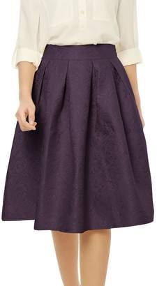 Allegra K Women's High Waist Floral Jacquard Pleated A Line Skirt XL