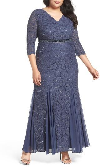 Alex EveningsPlus Size Women's Alex Evenings Embellished Waist Sequin Lace Dress