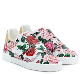 fe1f8e91756 Dolce   Gabbana Floral-printed leather sneakers